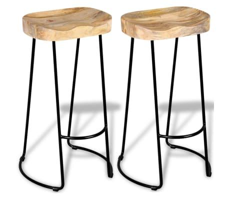 vidaXL Bar Stools 2 pcs Solid Mango Wood[3/9]