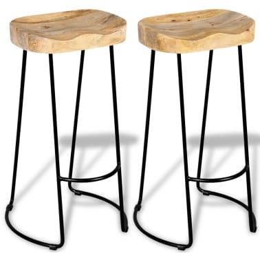 vidaXL Bar Stools 2 pcs Solid Mango Wood[2/9]