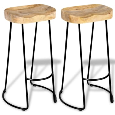 vidaXL Gavin Barske stolice 2 kom Masivno Mango Drvo[2/9]
