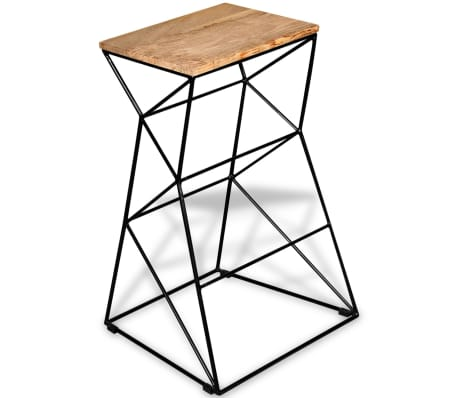 vidaXL Bar Stool Solid Mango Wood[3/9]
