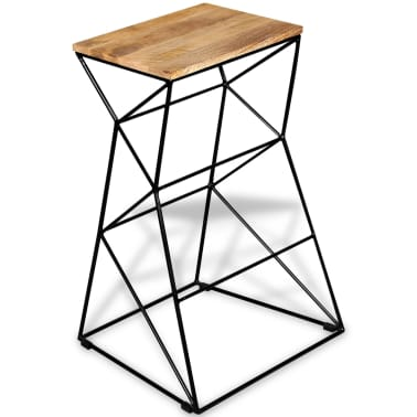 vidaXL Bar Stool Solid Mango Wood[5/9]