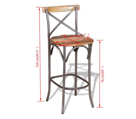 "vidaXL Bar Chair Solid Reclaimed Wood 17.7""x17.7""x43.3""[9/9]"