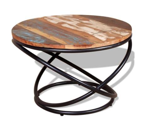 vidaXL Kavos staliukas, masyvi perdirbta mediena, 60x60x40 cm