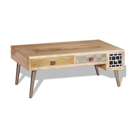 "vidaXL Coffee Table with Drawers Solid Mango Wood 41.3""x21.7""x16""[2/11]"