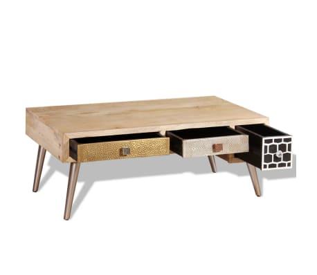 vidaXL Stolik kawowy z szufladami, drewno mango 105x55x41cm[6/10]