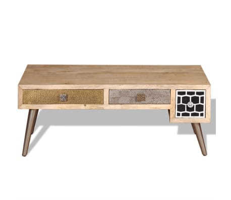 "vidaXL Coffee Table with Drawers Solid Mango Wood 41.3""x21.7""x16""[8/11]"