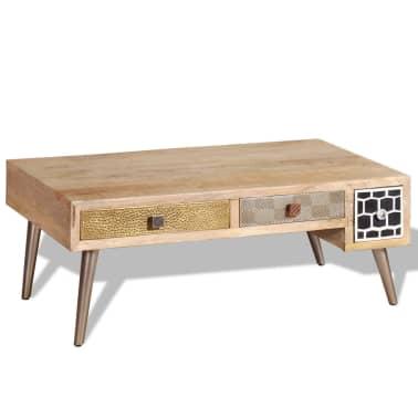 "vidaXL Coffee Table with Drawers Solid Mango Wood 41.3""x21.7""x16""[3/11]"