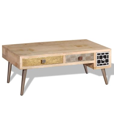"vidaXL Coffee Table with Drawers Solid Mango Wood 41.3""x21.7""x16""[4/11]"