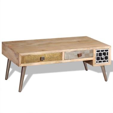"vidaXL Coffee Table with Drawers Solid Mango Wood 41.3""x21.7""x16""[5/11]"
