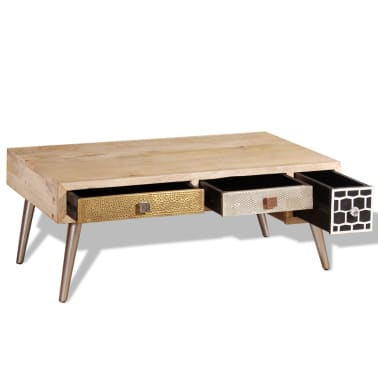 "vidaXL Coffee Table with Drawers Solid Mango Wood 41.3""x21.7""x16""[7/11]"
