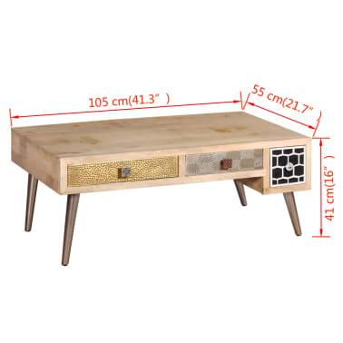 "vidaXL Coffee Table with Drawers Solid Mango Wood 41.3""x21.7""x16""[11/11]"