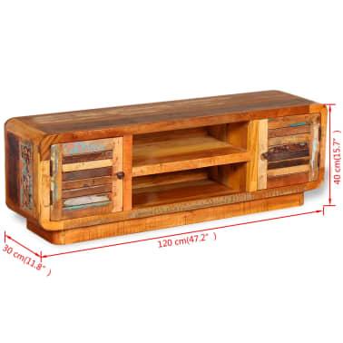 vidaXL TV stolík z masívneho recyklovaného dreva, 120x30x40 cm[9/9]
