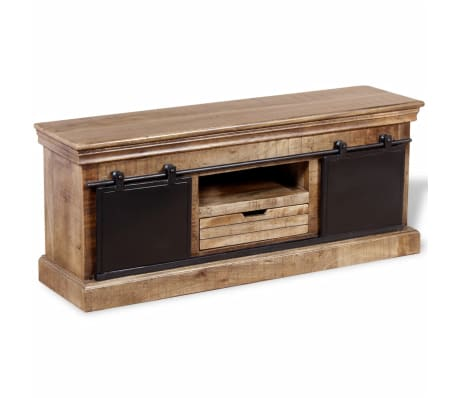 vidaxl massivholz tv schrank fernsehtisch lowboard mangoholz industrie 110x30x45 ebay. Black Bedroom Furniture Sets. Home Design Ideas
