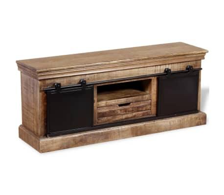 vidaXL TV staliukas su 2 durelėmis, mango mediena, 110x30x45 cm[2/10]