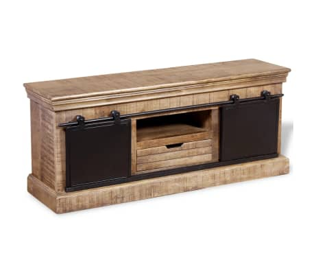 vidaXL TV staliukas su 2 durelėmis, mango mediena, 110x30x45 cm[3/10]