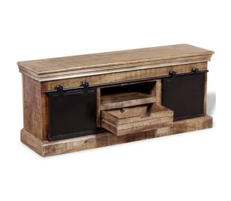 vidaXL TV staliukas su 2 durelėmis, mango mediena, 110x30x45 cm[5/10]