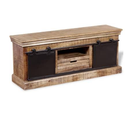vidaXL TV staliukas su 2 durelėmis, mango mediena, 110x30x45 cm[6/10]