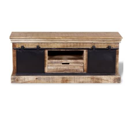 vidaXL TV staliukas su 2 durelėmis, mango mediena, 110x30x45 cm[8/10]