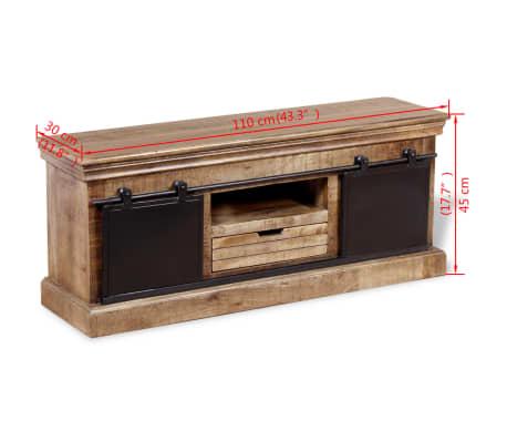vidaXL TV staliukas su 2 durelėmis, mango mediena, 110x30x45 cm[10/10]
