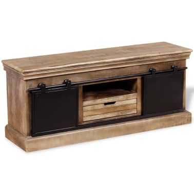 vidaXL TV staliukas su 2 durelėmis, mango mediena, 110x30x45 cm[4/10]
