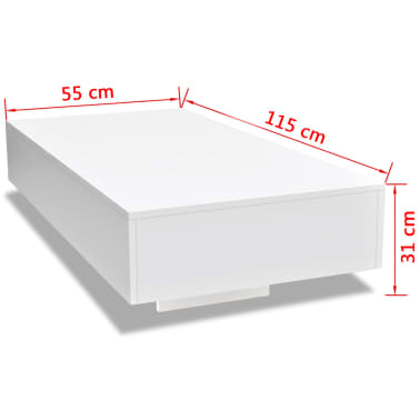 vidaXL Table basse Haute brillance Blanc[5/5]