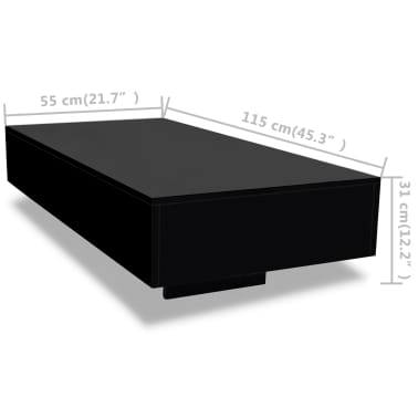 vidaXL Coffee Table High Gloss Black[5/5]