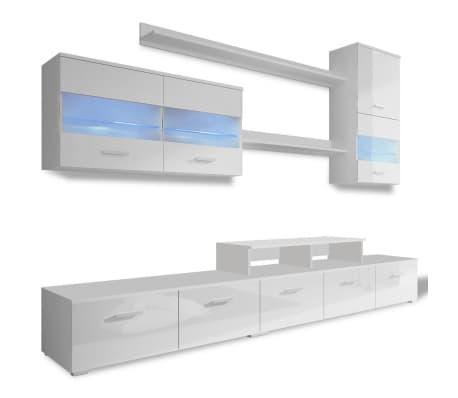 acheter vidaxl meuble tv avec led 250 cm blanc haute. Black Bedroom Furniture Sets. Home Design Ideas