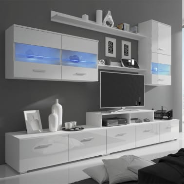 acheter vidaxl meuble tv avec led 250 cm blanc haute brillance 7 pi ces pas cher. Black Bedroom Furniture Sets. Home Design Ideas
