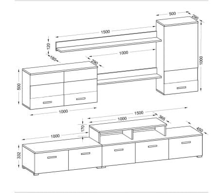 vidaxl siebenteilige wohnwand mit led hochglanz schwarz 250 cm zum schn ppchenpreis. Black Bedroom Furniture Sets. Home Design Ideas