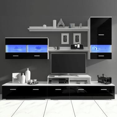 acheter vidaxl meuble tv avec led 250 cm noir haute brillance 7 pcs pas cher. Black Bedroom Furniture Sets. Home Design Ideas