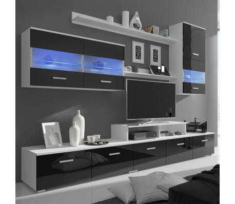 vidaxl meuble tv avec led 250 cm noir haute brillance 7 pcs. Black Bedroom Furniture Sets. Home Design Ideas