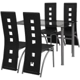 vidaXL Five Piece Dining Set Black