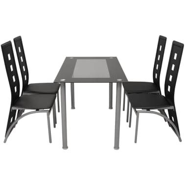 vidaXL Five Piece Dining Set Black[2/7]