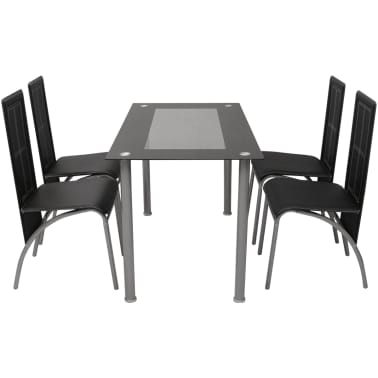 vidaXL Five Piece Dining Set Black[2/6]