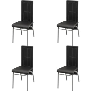 vidaXL Five Piece Dining Set Black[4/6]