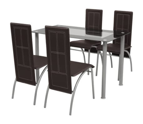 vidaXL Five Piece Dining Set Brown[1/6]