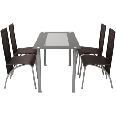 vidaXL Five Piece Dining Set Brown[2/6]