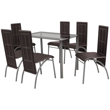 vidaXL Seven Piece Dining Set Brown[1/6]