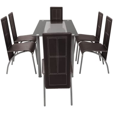 vidaXL Seven Piece Dining Set Brown[2/6]