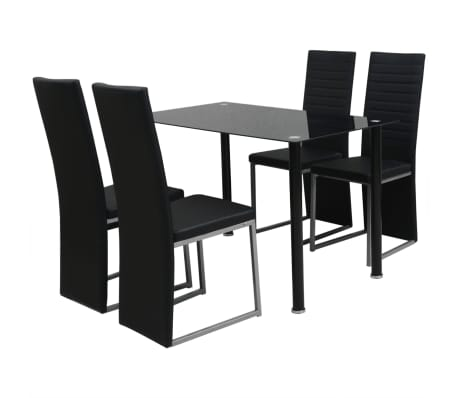 vidaXL Five Piece Dining Set Black[1/6]