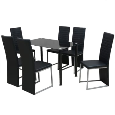 vidaXL Seven Piece Dining Set Black[1/7]
