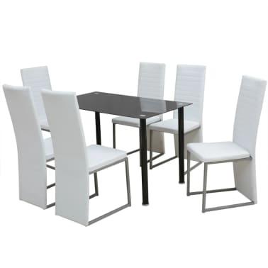 vidaXL Seven Piece Dining Set White[1/7]