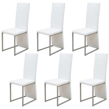 vidaXL Seven Piece Dining Set White[3/7]