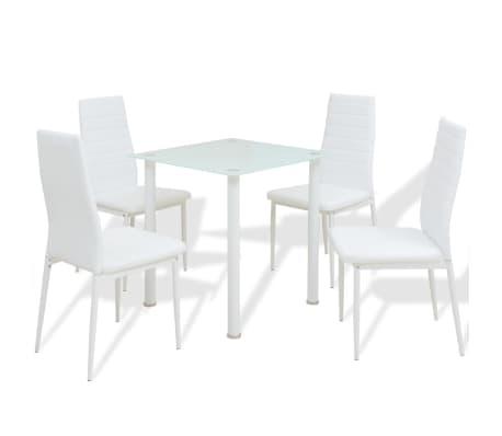 vidaXL Five Piece Dining Set White[1/7]