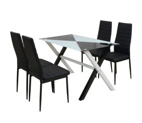 vidaXL Five Piece Dining Set Black[1/7]