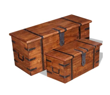 vidaXL Dviejų skrynių, daiktadėžių komplektas, masyvi mediena