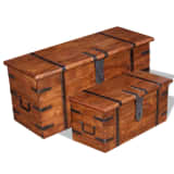 vidaXL 2 Piece Storage Chest Set Solid Wood