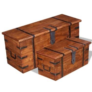 vidaXL 2 Piece Storage Chest Set Solid Wood[1/12]