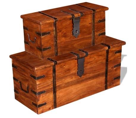 vidaXL 2 Piece Storage Chest Set Solid Wood[2/12]