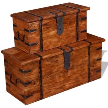 vidaXL 2 Piece Storage Chest Set Solid Wood[12/12]